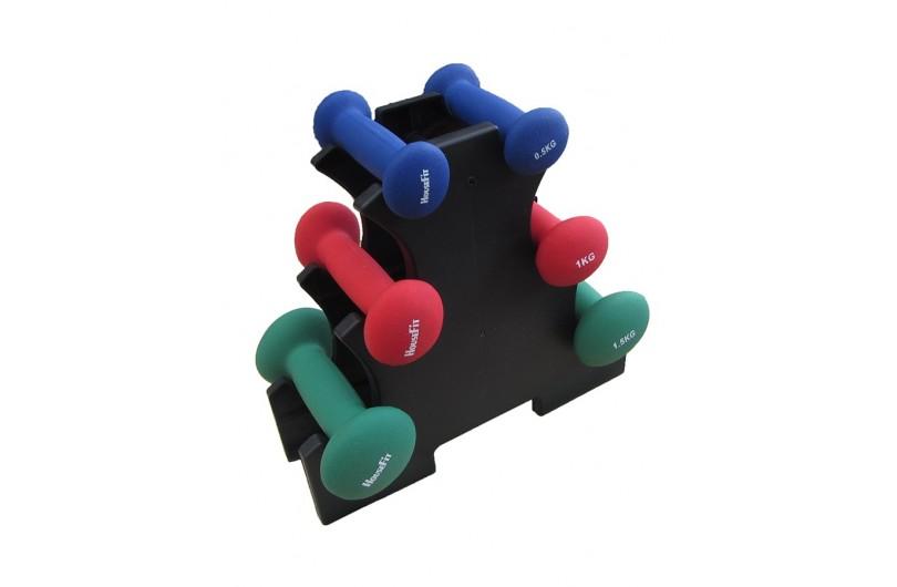 DR102-2 | Набір гантелей в пластиці 6 кг cо стійкою