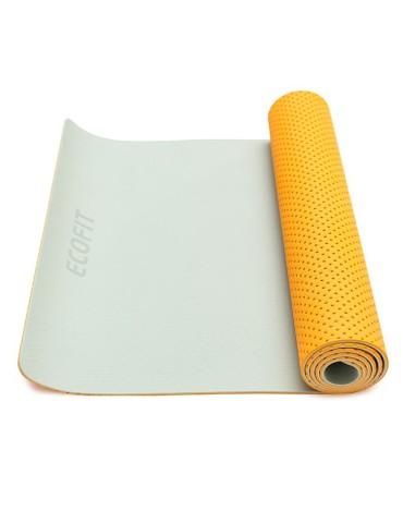 Килимок для фітнесу Ecofit MD9032 двошаровий перфорований TPE 1830 * 610 * 6мм оранжево-сірий